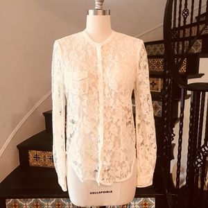 Joe's Lace long sleeve button up blouse